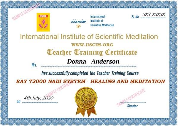 Sample Yoga 72TT Certificate